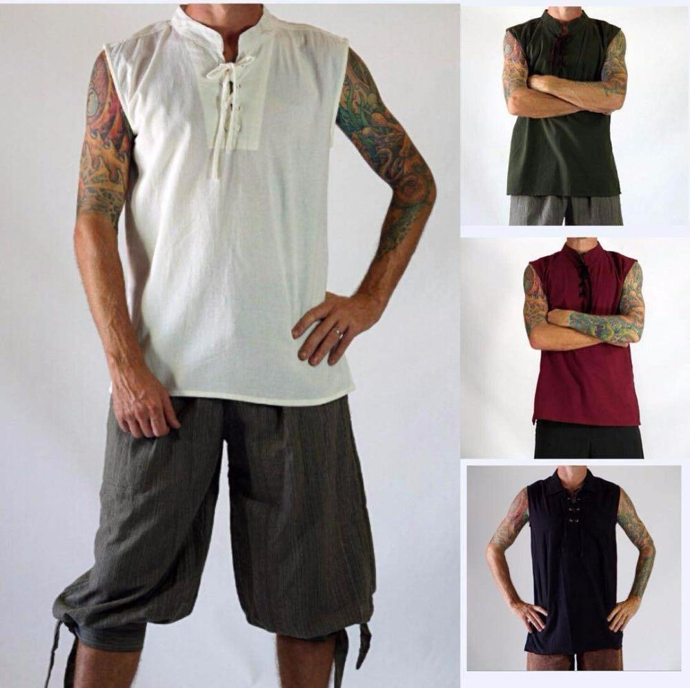 Men Medieval Renaissance Steampunk Shirt Sleeveless Lace Up Pirate Shirt Viking Navigator Peasant Top Tee Halloween Costume