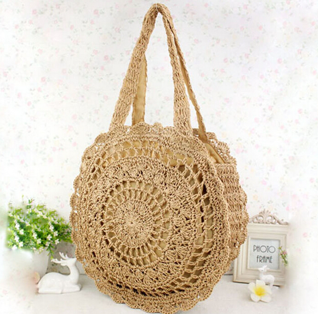 2017 New Fashion Womens Straw Handbags Summer Woven Shoulder Tote Beach Bag Circle Handbag Wallet Purse In Wallets From Luggage Bags On Aliexpress