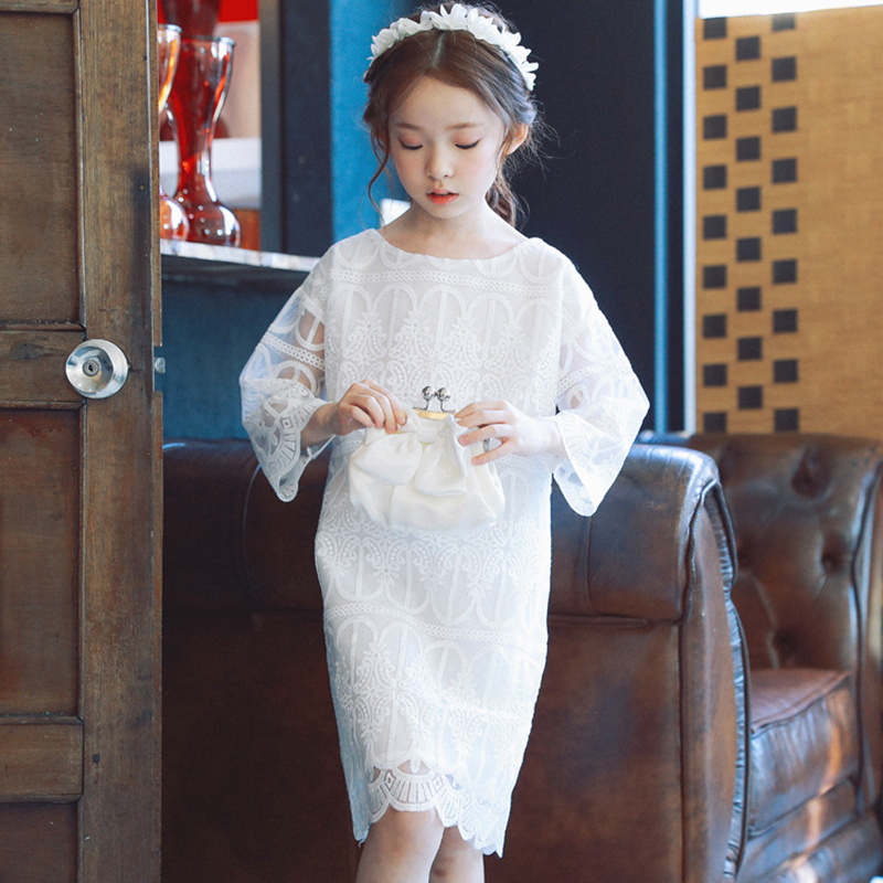 2017 Spring autumn new girls dress lace three quarter children dress fashion cute girls dresses for party and wedding 2-7 age