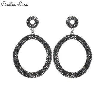 9730324381eb CARTER LISA moda brillante grande pendientes de lujo Color negro ronda  Rhinestone pendientes para las mujeres