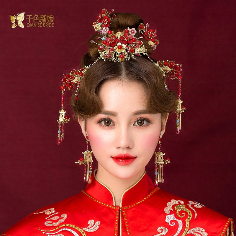 Chinese bride headdress costume red floral hairpin wedding hairwear and earrings photography wedding hair accessories jingyi 03 red gold bride wedding hair tiaras ancient chinese empress hat bride hair piece