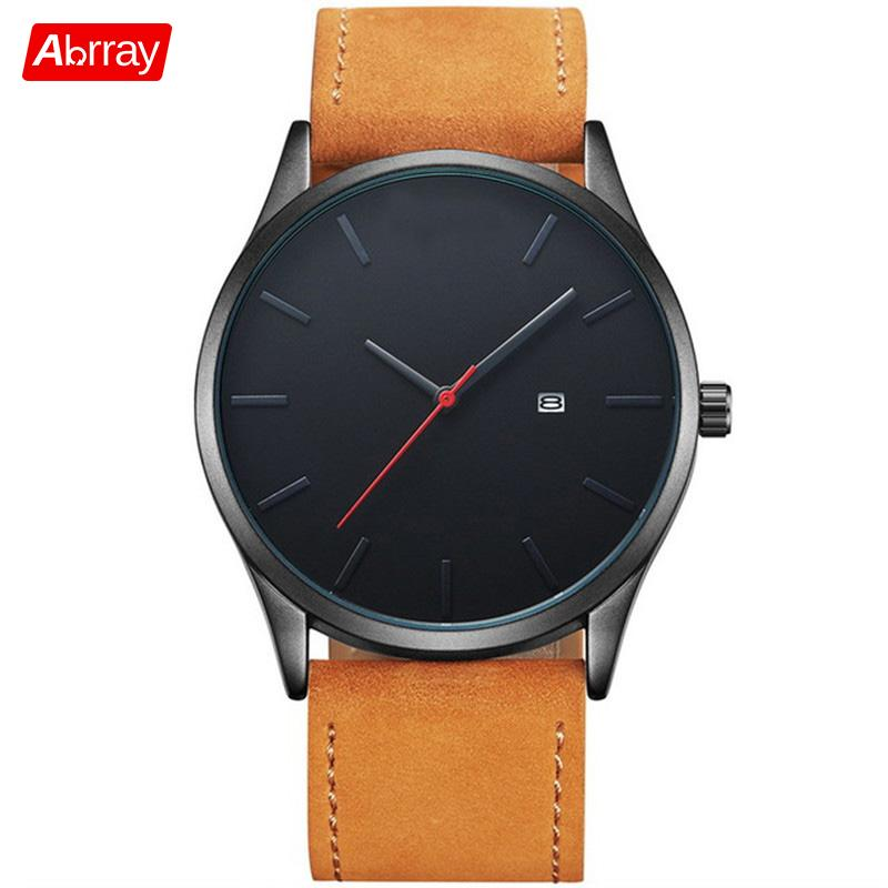 Abrray Men Business Quartz Watch Black PU Leather Wristwatch With Calendar Fashion And Casual Watches For Men Simple Dial Design simple men s casual shoes with criss cross and color block design
