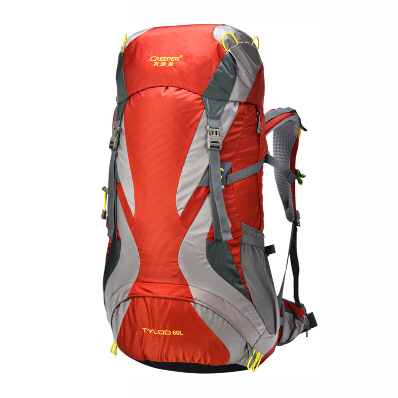 60L External Frame Climbing Bag Waterproof Polyester Material Unisex Travel Backpack for Camping Hiking Outdoor with Rain Cover 75l external frame support outdoor backpack mountaineering bag backpack men and women travel backpack a4809