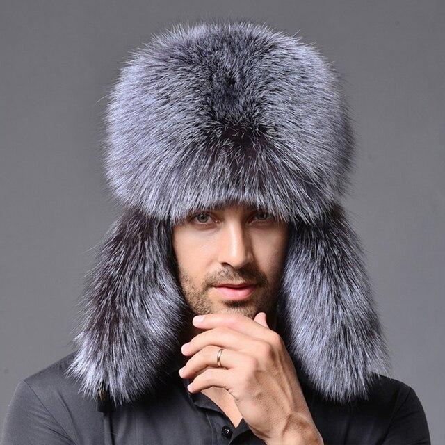 Men Russian Lamb leather bomber Faux Raccoon Fur hat winter hats with earmuffs  trapper earflap Ski Outdoor cap man black hat 8c13d7358ccd