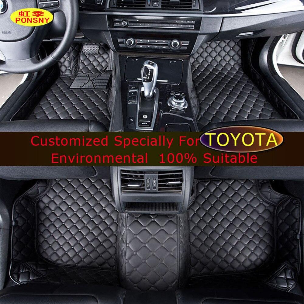 PONSNY Car Floor mats For Toyota Camry RAV4 Land Cruiser Parado Previa  Alphard Highlander Corolla Foot Carpets Rugs