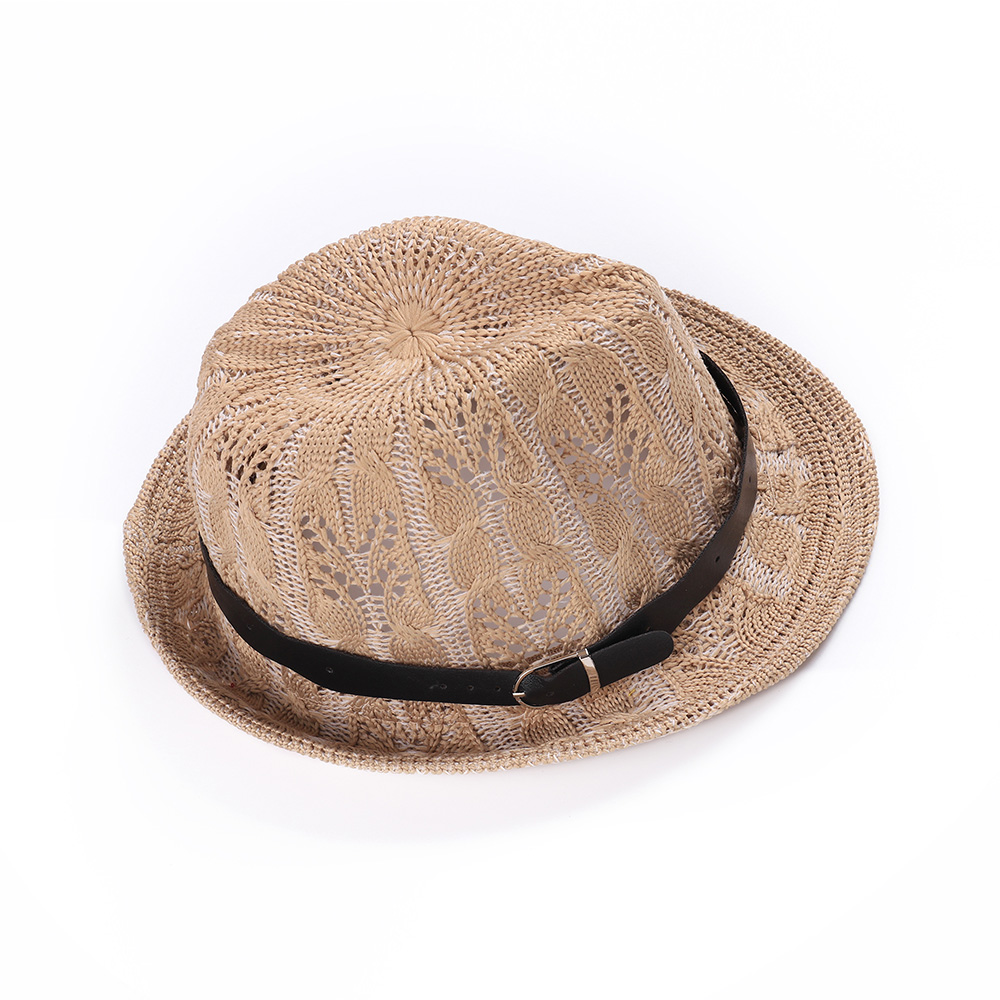 af6839654 Hollow Out Black Ladies Fedoras Trilby Hats With Belt For Women Men Summer  Sombreros Classic Panama Jazz West Cowboy Caps