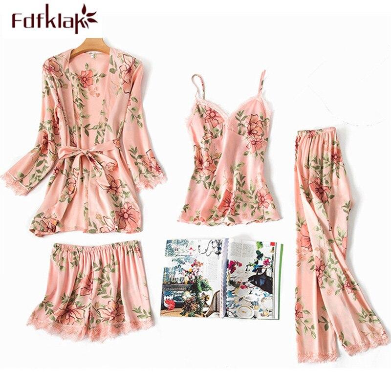 Fdfklak New 4 pcs silk pajamas for women print satin sleepwear set vintage women's pijamas suit home wear ladies pyjamas sets