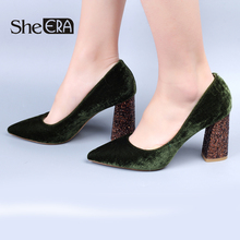 Купить с кэшбэком She ERA 2018 Spring NEW Fashion Women High Heels Flock Women Shoes 8.5cm Bling Bling Heel Party Pumps Shoes for Women