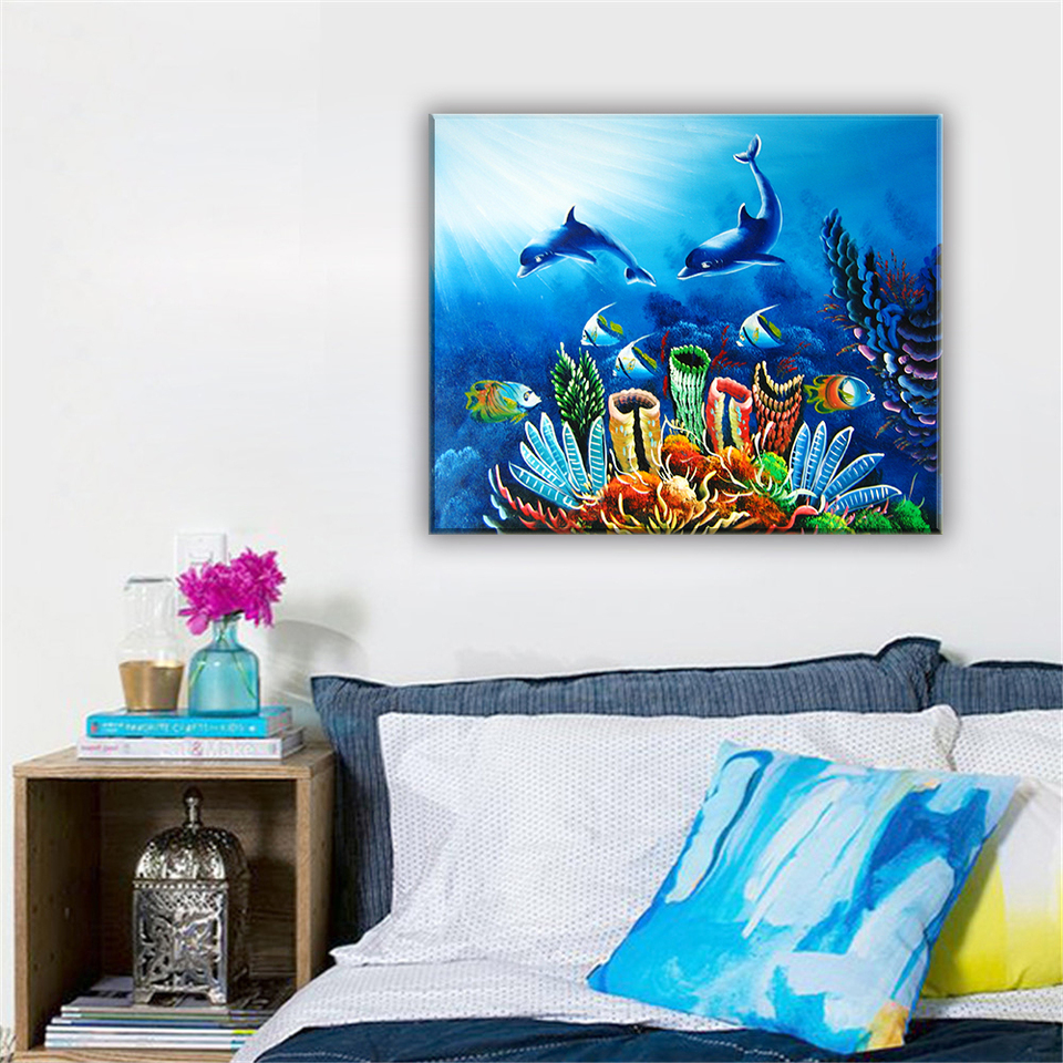 Modular Oil Painting Canvas Print Frameless Adornment Picture Seascape Dolphin Home Decoration Charm Still Life Poster For Wall Oil Painting Canvas Printsoil Painting Canvas Aliexpress