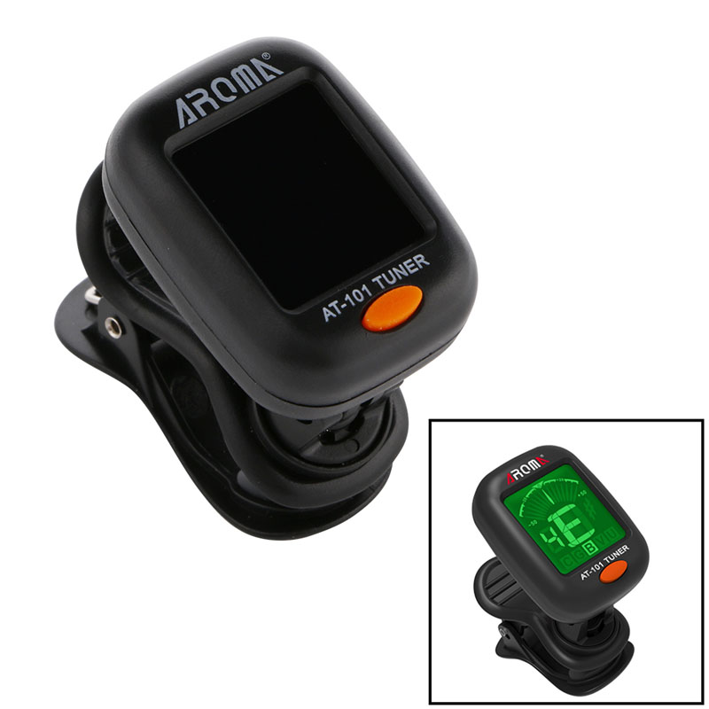 Black  360 degree tuner AT101 Tuner Clip-On Digital For Acoustic Electric Guitar Bass Violin Fancy