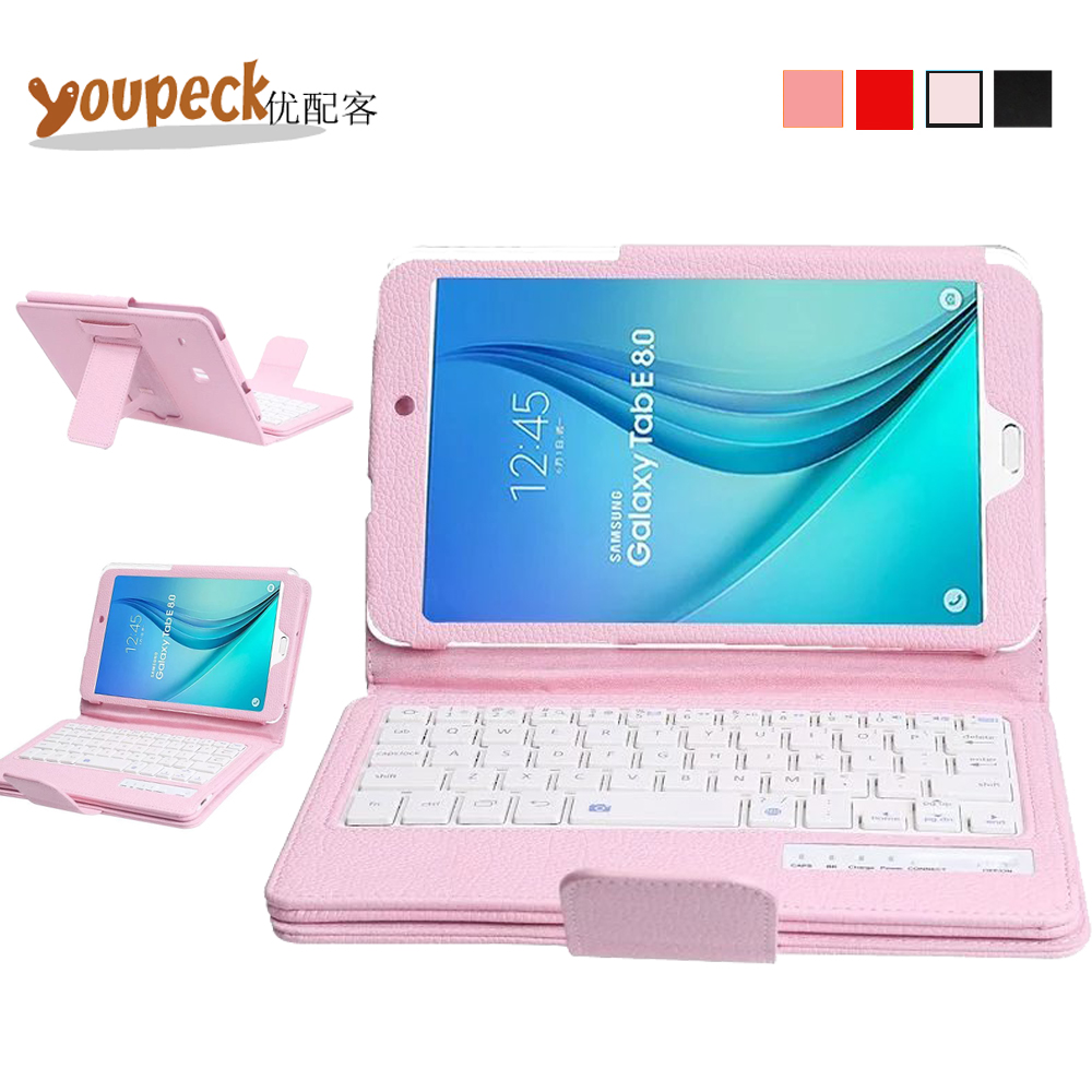 3-in-1 DETACHABLE Wireless Bluetooth Keyboard Case for Samsung Galaxy Tab E 8.0 Tablet T377 PU Leather Cover +US QWERTY Keyboard