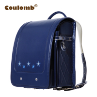 Coulomb Children Randoseru Orthopedic Backpack For Boys School Bag Book Star PU Blue/Black Case Portfolio Backpacks 2017 Hot