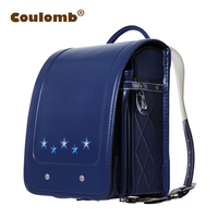 Coulomb Children Randoseru Orthopedic Backpack For Boys School Bag Book Star PU Blue/Black Case Portfolio Backpacks 2017 Hot