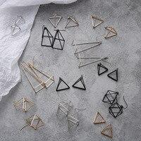 Ensemble de boucles d'oreilles Punk minimaliste Europe et amérique pour femmes géométrique 3D Triangle creux polygone boucles d'oreilles Brincos bijoux de fête JH