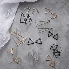 Европейский и американский минималистичный панк Комплект сережек для женщин геометрические 3D треугольные полые многоугольные Серьги Brincos вечерние ювелирные изделия JH