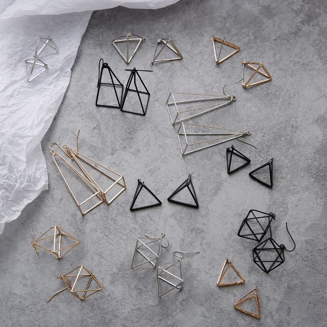 Europe and America Minimalist Punk Earrings Set for Women Geometric 3D Triangle