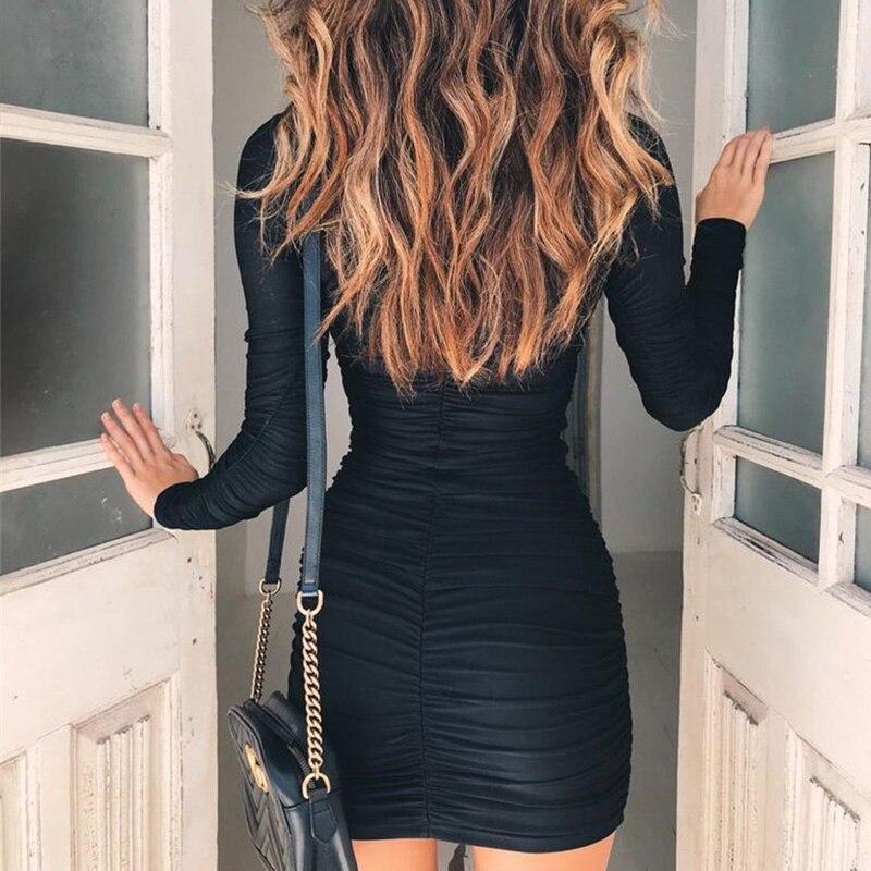 63d3fa2f5349 Women Autumn Fashion Long Sleeve Turtleneck Mini Dress Ladies Casual  Bodycon Black Mini Dresses Package Hip Vestidos 6Q1946-in Dresses from  Women s Clothing ...