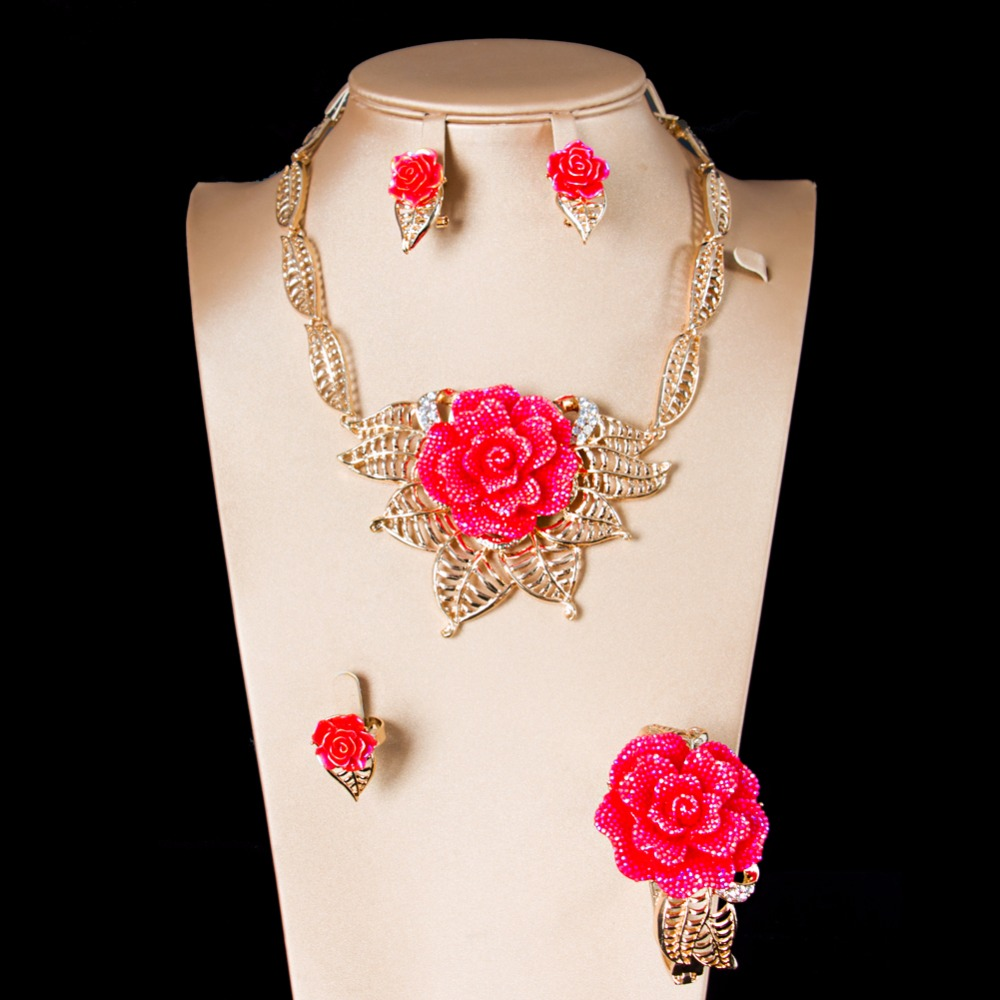LAN PALACE bridal jewelry set wedding jewelry rose turkish jewelry crystal earrings neck ...