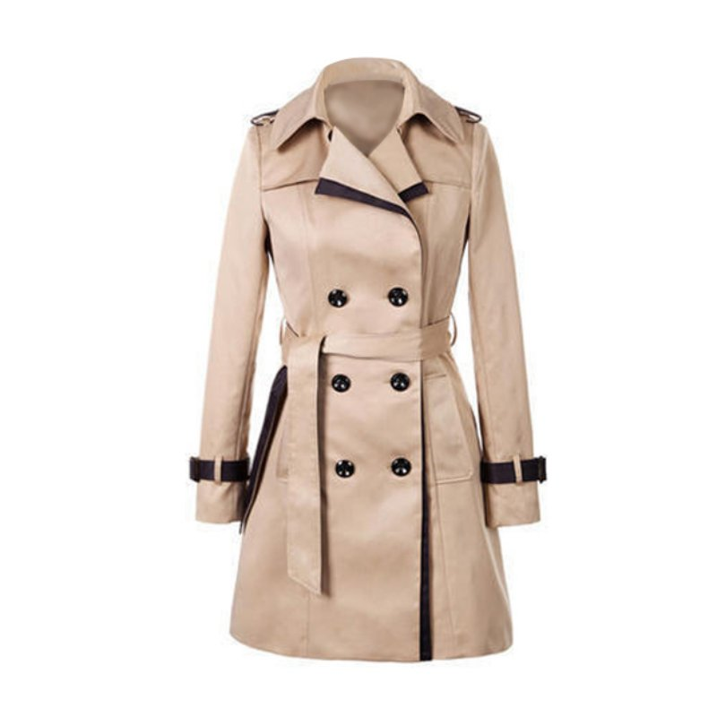 Overcoats Women's Long Sleeve Slim   Trench   Coats Turn-down Collar Overwear Spring Autumn Clothing