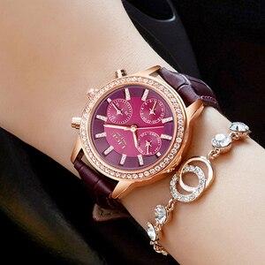 Image 4 - Relogio feminino relógios femininos lige marca de luxo menina relógio de quartzo casual senhoras de couro vestido relógios feminino montre femme