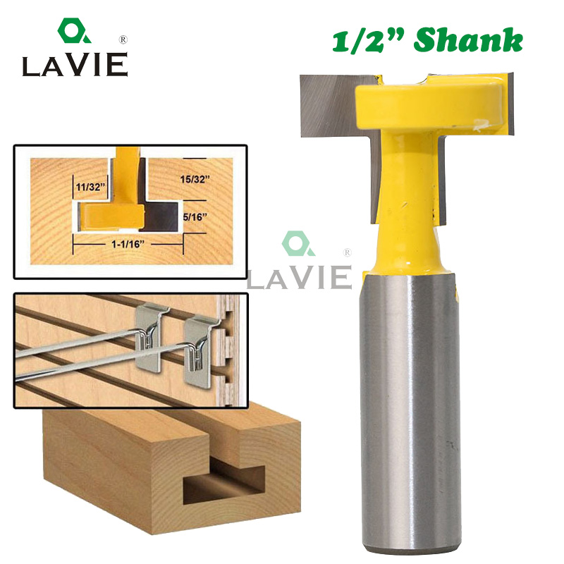 LA VIE 1/2 Inch Shank T Slot Router Bit Carbide Tip Straight Wood Milling Cutter Woodworking Drill Bit Hanger MC03003 1 2 2 6 woodworking router bit arden tungsten carbide cnc cutter tct straight bit tideway 3137