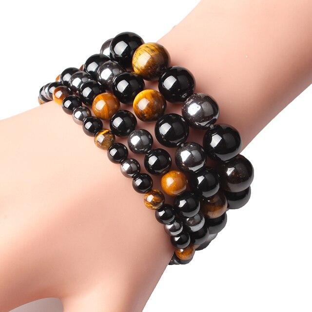Bracelet De Vie Homme Oeil De Tigre Hématite Obsidienne Noire