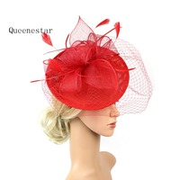 BIg Veil Sinamay Hairband Women Fascinator Headband Fashion Cocktail Tea Party Ladies Feather Sinamay Wedding Hair Accessories