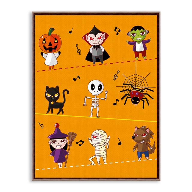 Halloween Modern Cartoon A3 Poster Prints Orange Pumpkin Ghost ...