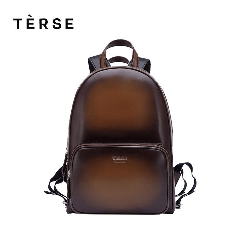 TERSE New Backpack Handmade Leather Men/Women Fashion Bag in blue coffee breathable genuine leather back bags customize logo HOT hot sale women s backpack the oil wax of cowhide leather backpack women casual gentlewoman small bags genuine leather school bag