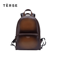 TERSE New Backpack Handmade Leather Men/Women Fashion Bag in blue coffee breathable genuine leather back bags customize logo9415