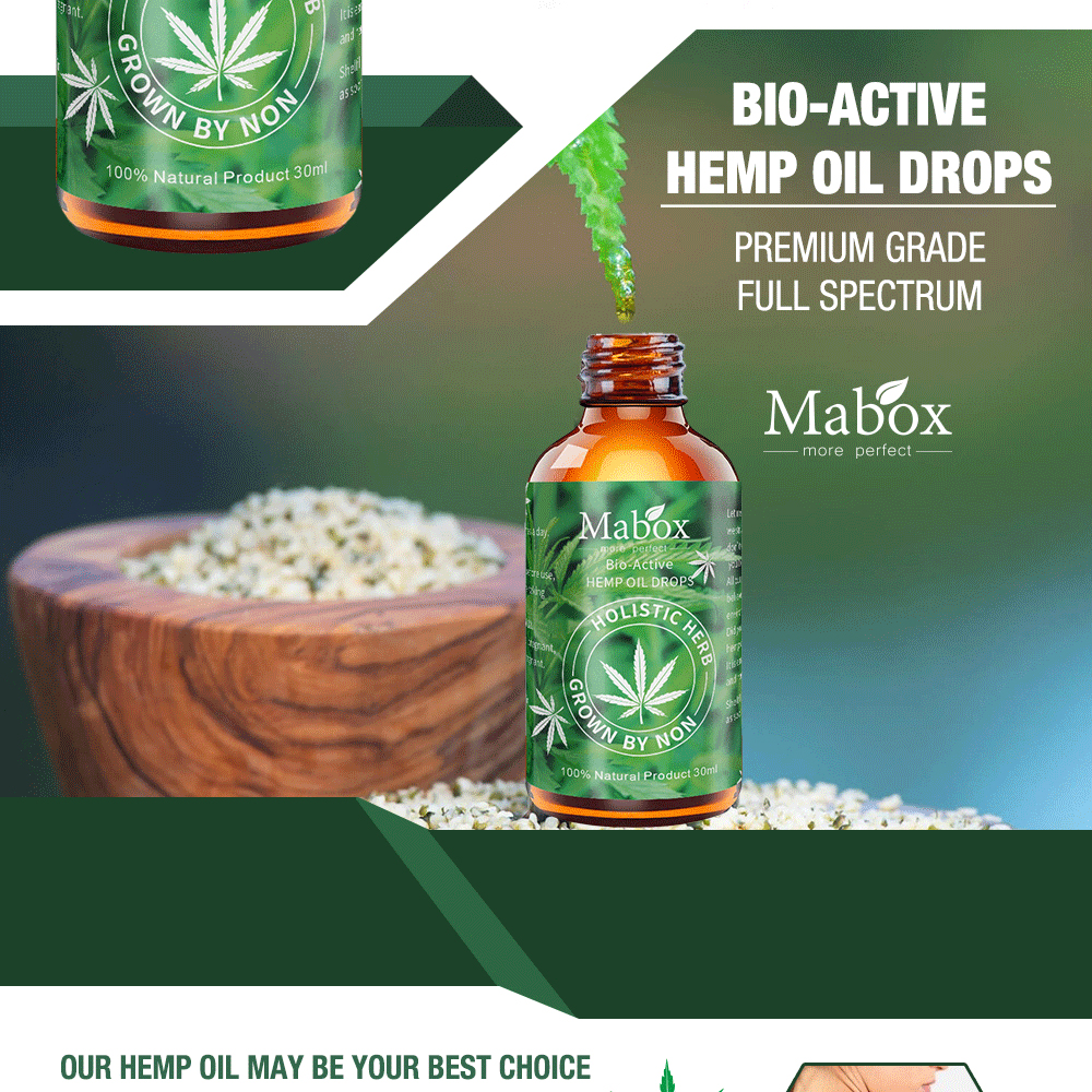 MABOX Hemp Oil, 100% Natural Sleep Aid Anti Stress Hemp Extract Drops for Pain, Anxiety & Stress Relief