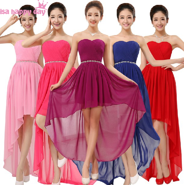 Blue Red Bridesmaid Brides Sweetheart Neck Bride Maid Dress Dresses Short Front Long Back For Weddings With Rhinestones B1093