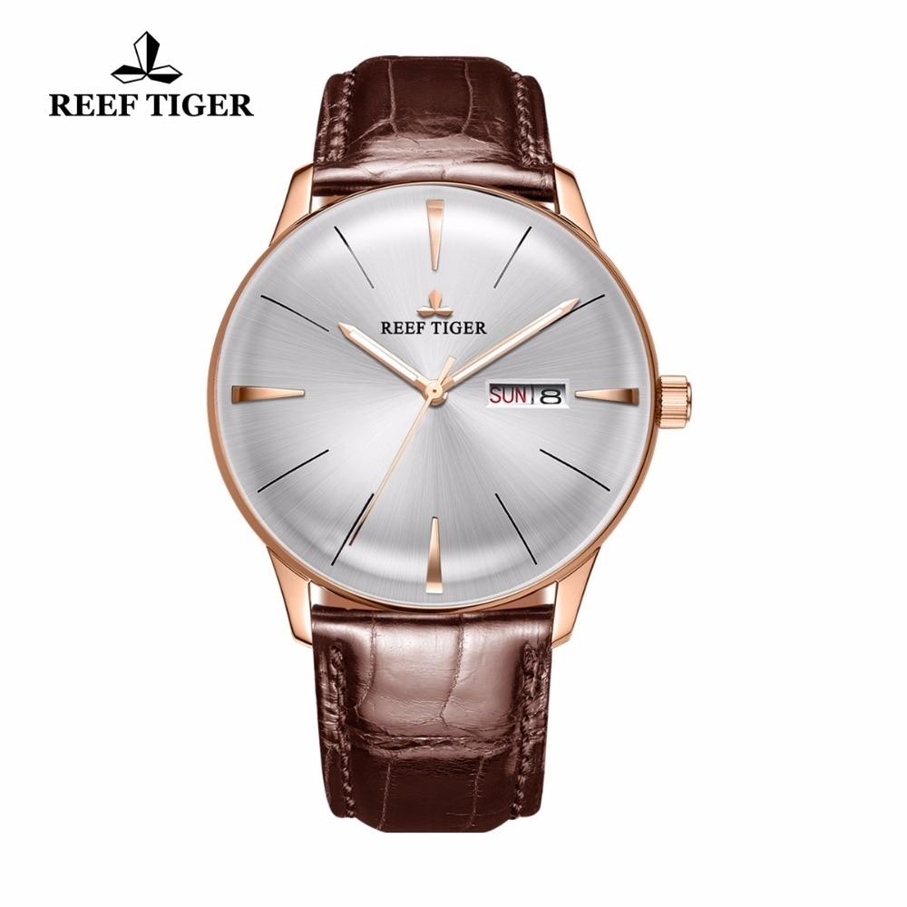 Reef Tiger/RT Simple relojes de vestir para hombres oro rosa correa de cuero relojes automáticos lente convexa reloj RGA8238