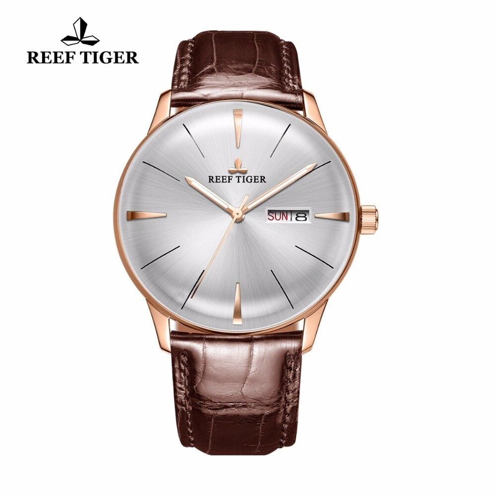 Récif Tigre/RT Simple Robe Montres pour Hommes Or Rose Bracelet En Cuir Automatique Montres Lentille Convexe Montre RGA8238