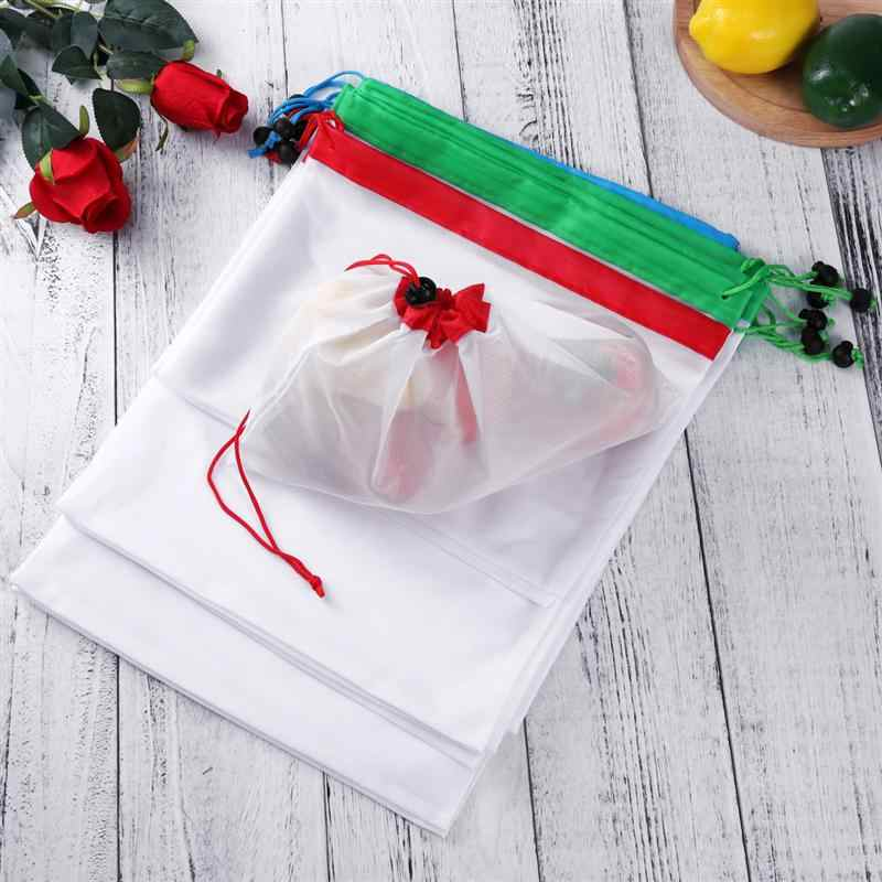 12pcs Washable Bags Reusable Mesh Produce Bags for Grocery Shopping Storage Fruit  Vegetable Toys Organizer Storage Bags