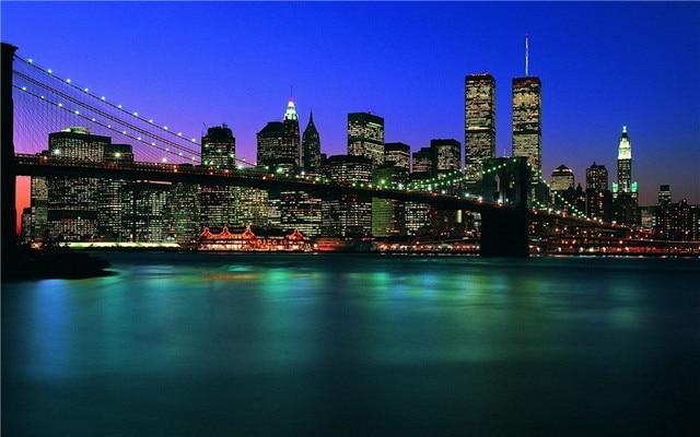 New York City Colorful Bridge Beautiful View At Night