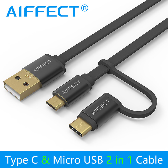 AIFFECT Mini Neue 2 in 1 Micro B zu Micro USB Kabel Typ C Kabel für Schnelle Lade USB C daten Kabel für Micro USB Typ-C Geräte