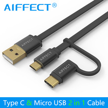 AIFFECT Mini New 2 in 1 Micro B to Micro USB Cable Type C  Cable for Fast Charging USB C Data Cable for Micro USB Type-C Devices стоимость