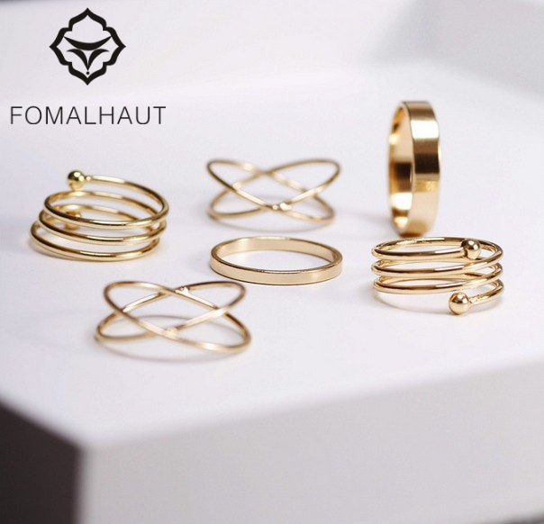 6Pcs punk FOMALHAUT stackable Gold & Silver Color Knuckle midi rings for women F