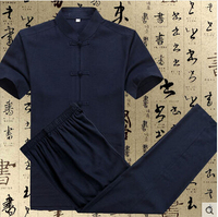 Chinese Vintage Men's Cotton Linen Suit Kungfu Sets Mandarin Collar Uniform Suit S M L XL XXL XXXL