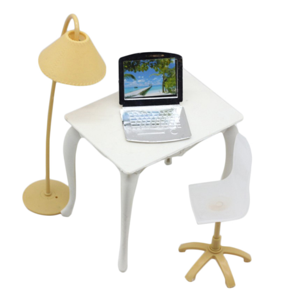 Cute Miniature furniture Doll Role Playing Props Worktable Table Doll Accessories Lamp + Computer + Table + Chair baby toy