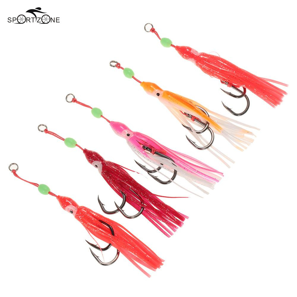 5pcs/lot Soft Octopus Fishing Lures 13cm Trolling Squid Skirts Fishing Baits Tuna Tail Fish Tackle Craft For Jigging Rigs Pesca