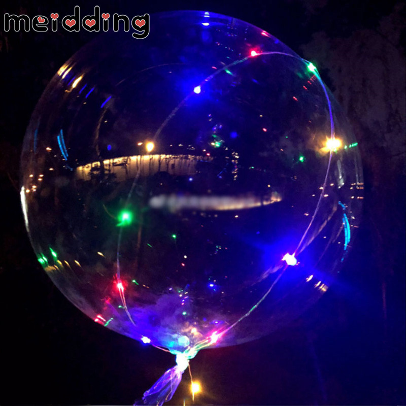 MEIDDING 1Pcs Birthday Party 18Inch BoBo Latex Balloons With Colorful LED Lights 1st Birthday Baby Shower Wedding Decor Supplies