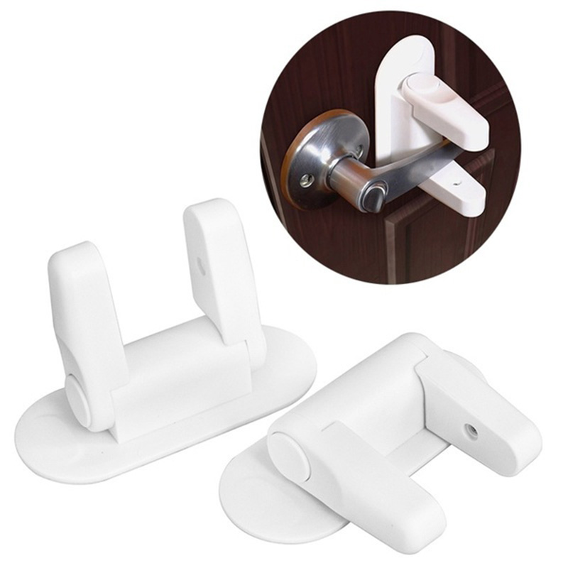 Child Proof Adhesive Anti Opening Door Lever Lock Baby Kids Safety Protection Plastic Door Handle Locks