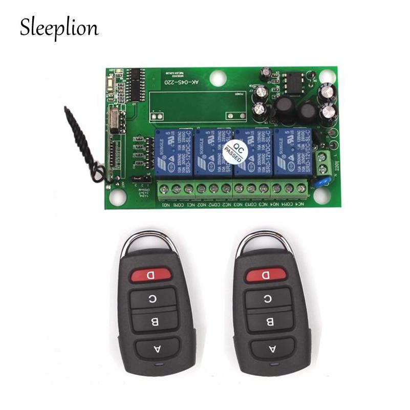 Sleeplion 85 240V 110V 220V 4CH Channel Relay Wireless RF Remote Switch 2 Transmitter font b