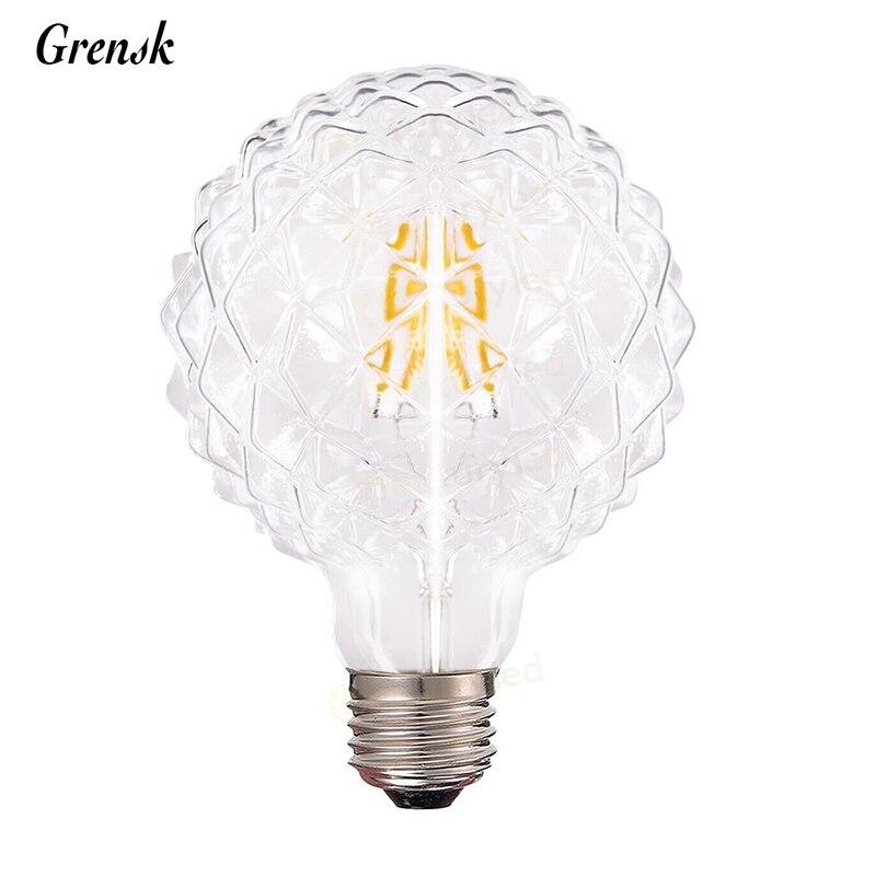 Ice Shaped,Diamond 95 LED Filament Bulb,4W,Warm White,E26 E27 Base Shape,110V 220VAC,Dimmable