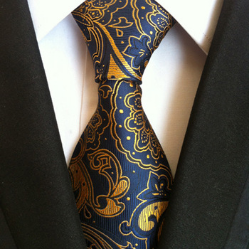 New Mens Tie Blue Gold  Paisley Silk Jacquard Neck Ties Business Wedding Party Ties for Men new mens tie blue gold paisley silk jacquard neck ties business wedding party ties for men
