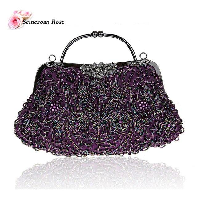 2016 Vintage Women Floral Totes Hobos Handbags Ladies Beading Sequined  Evening Wedding Bags Purses Women Shoulder Messenger Bags 3f264cfacf6c