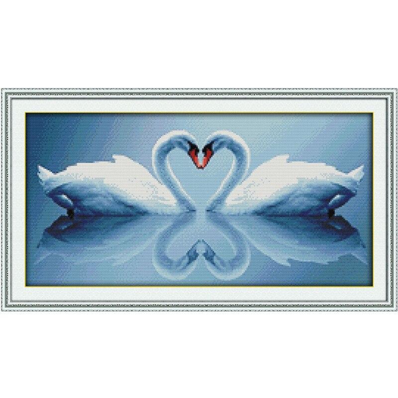 Blanco Cisne beso patrón de punto de cruz DMC 11ct 14ct kits de ...