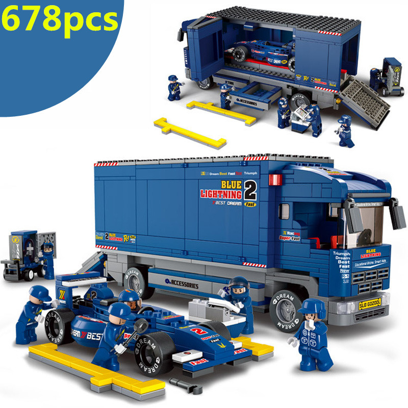 0357 F1 racing car Building Blocks Compatible with lego City turn to be Truck Education toys brinquedos educativos